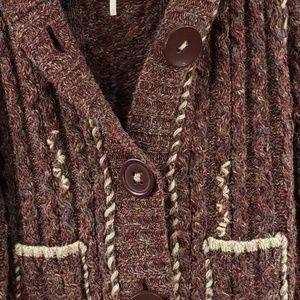 Free People Sweaters - Free People Wool Blend Hooded Cardigan Sweater